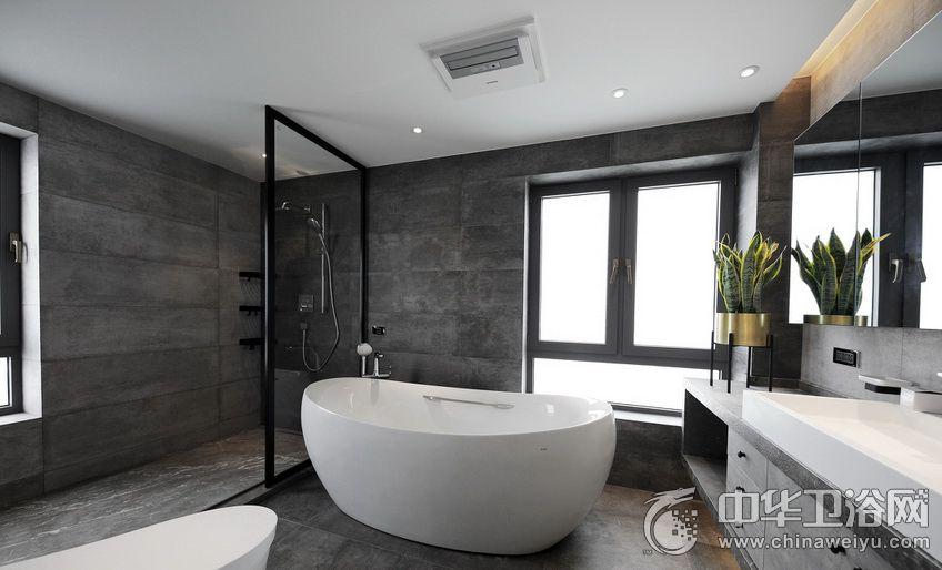 现代黑白风格卫生间装修效果图 浴室效果图