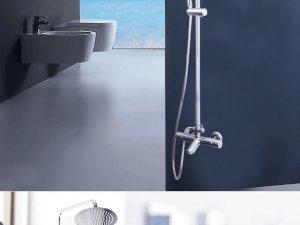 和成卫浴 恒温淋浴花洒套装新品不锈钢软管冷热水龙头喷头08078效果图