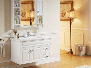 法恩莎卫浴 白色简欧浴室柜组合欧式实木正品时尚挂墙浴柜FPGM3616H-F效果图