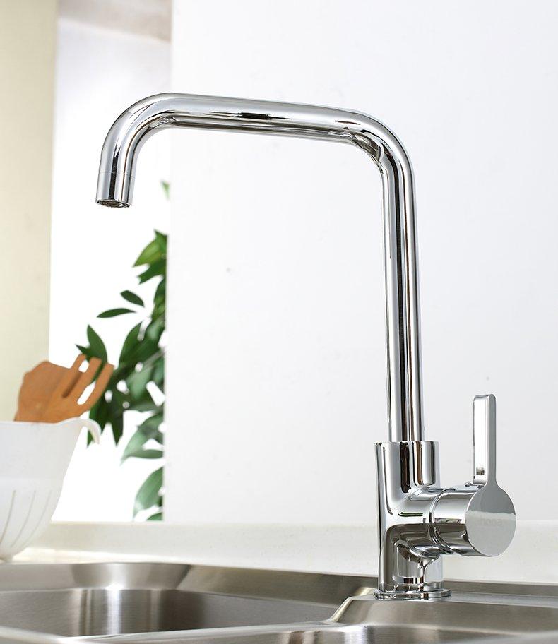 宏浪卫浴 厨房水龙头全铜冷热单把单孔洗菜盆水槽双槽卫浴龙头效果图