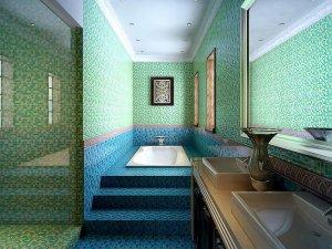 马赛克装饰别致卫浴间 现代浴室装修图片展示