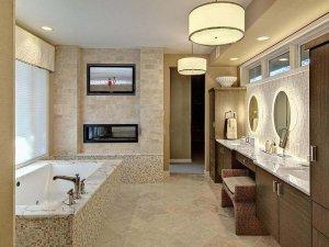 欧式风格装修案例图 好时光边淋浴边看电视