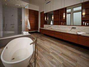 美式风格卫生间装修效果图 木质条纹别样清爽