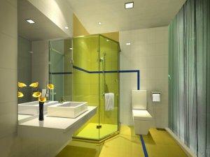 淡雅绿色卫生间设计图片