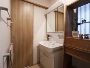 简洁日式风格卫生间木门装饰图