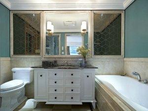 美式风格卫生间装饰效果图 卫生间浴室镜装饰效果图