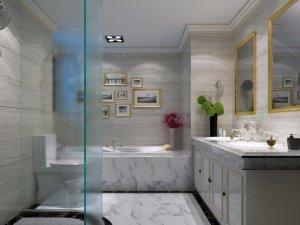 简约风格卫生间装饰效果图 卫生间大理石背景墙装饰效果图