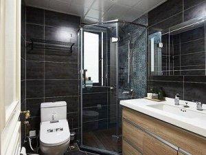 现代简约暗色系风格卫生间装修效果图    淋浴房效果图