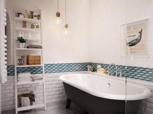 北欧风格卫生间黑色浴缸图片   复古墙砖图片