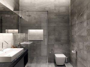 前卫灰色系卫生间墙砖装修效果图  玻璃隔断效果图