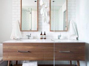 北欧风格卫生间实木浴室装修效果图  双人洗面盆图片