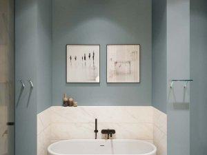 蓝色卫生间地砖装修效果图   椭圆型浴缸图片