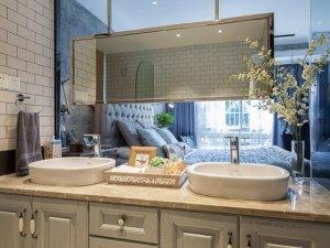 北欧风格卫生间灰色实木浴室柜装修效果图  双人洗面盆图片