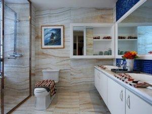 现代简约风格卫生间白色浴室柜效果图   玻璃隔断效果图