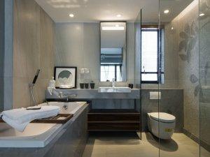 简约风格卫生间浴缸装修效果图    马赛克墙砖铺装效果图