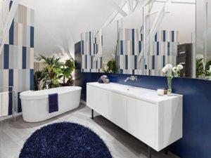 蓝色地中海风格卫生间装修效果图   纯白色浴室柜效果图
