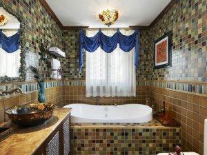 东南亚风格卫生间瓷砖铺装效果图 亚克力浴缸效果图