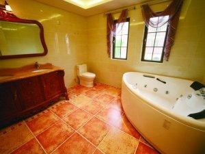 复古风格卫生间实木浴室柜效果图 按摩浴缸图片
