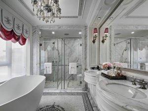 欧式风格灰色调卫生间装修效果图 双人浴室效果图