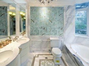 欧式清新风格卫生间浴室柜效果图 浴室瓷砖铺装效果图