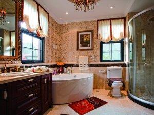 古典风格卫生间实木浴室柜图片 按摩浴缸效果图