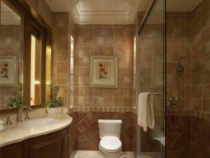 现代风格咖啡色卫生间装修效果图 玻璃推拉门隔断图片