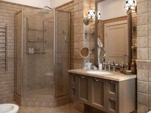 美式风格咖啡色卫生间装修效果图 定制浴室柜设计图片