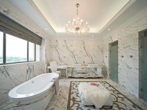 新古典卫浴装修效果图 大户型白色系卫浴装修效果图