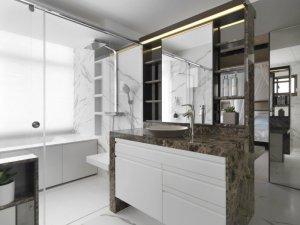 简约风卫生间浴室柜效果图 独立淋浴间图片