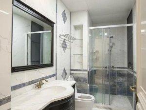 现代卫生间黑色浴室柜效果图 浴室柜玻璃隔断图片
