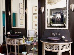 新中式风格卫生间洗漱台装修效果图 艺术洗面盆图片