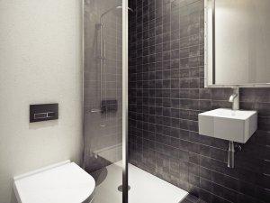 经典黑白色卫生间装修效果图 黑色瓷砖图片