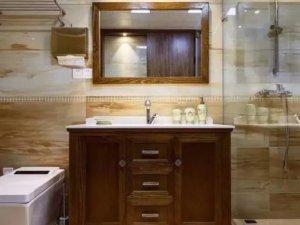 复古卫生间浴室柜装修效果图 实木浴室柜图片