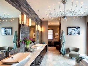 古典风格卫生间装修效果图 棕色浴室柜图片