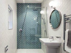 卫生间瓷砖铺装效果图 小卫生间浴室图片