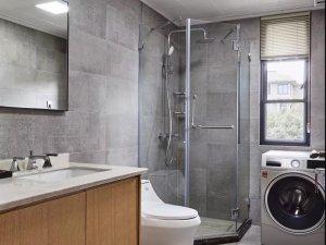 简约灰色卫生间装修效果图 玻璃淋浴房设计图