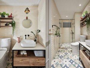 混搭简约公寓卫生间装修效果图 独立淋浴间图片