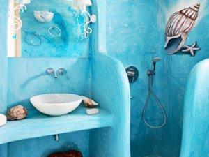 梦幻蓝色海洋卫生间装修效果图 卫浴花洒设计图