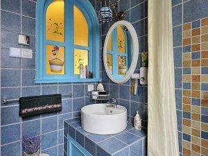 蓝色小卫生间装修效果图 浴室浴帘设计图片