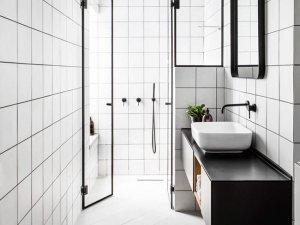 工业风极简卫浴效果图 黑白相间卫浴效果图