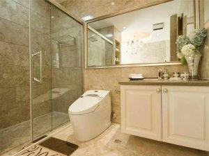 新中式风格卫浴间装修效果图 白色浴室柜图片