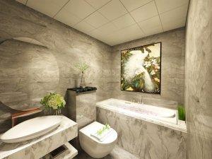新中式风格卫浴效果图图 灰色大理石瓷砖卫浴图片