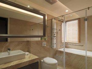 现代简约卫生间装修效果图 浴室玻璃隔断门效果图
