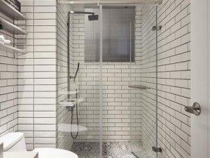 黑白卫生间装修效果图 干湿分离淋浴间效果图