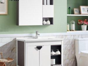 希箭卫浴 生态木薰衣草色对开门侧空落地款浴室柜100CM效果图