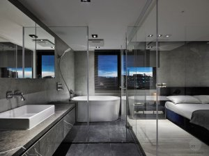 简约风格浴室装修效果图 白色浴缸图片