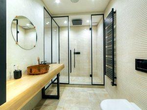 简约风主卧玻璃淋浴房装修效果图 创意金属色洗手盆图片
