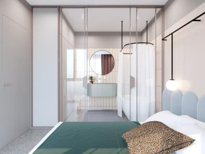 主卧玻璃淋浴房装修效果图 卫生间浴帘隔断效果图