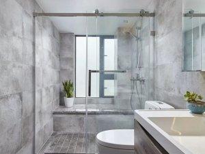 北欧风灰色卫生间装修效果图 无框玻璃隔断门图片