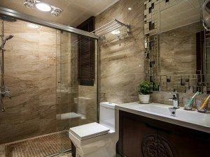新中式卫生间装修效果图 淋浴房玻璃隔断图片